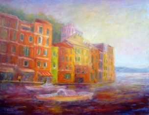 Portofino Stroll by Carolyn Jarvis is an Italian  painting showing the colorful buildings, boats and sea.